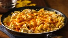 Need a 30-minute weeknight dinner? Try this easy, cheesy southwestern take on a chicken and pasta skillet dinner.
