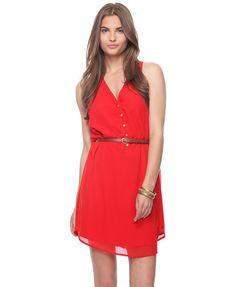 Belted racerback dress, red