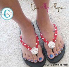 63ef8743d8c519 Baseball Flip Flops - bling- red white polka  all colors