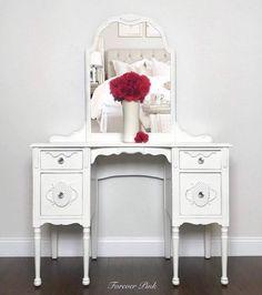 Your place to buy and sell all things handmade Glen Mills, Makeup Display, Crystal Knobs, Wood Detail, Vintage Vanity, Drawers, Vintage Items, Zip Code, Mirror