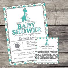 WE PRINT Gray and Teal Giraffe Baby Shower Invitation for a Boy - Jungle Baby…