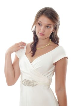 Ivory Tulle Bridal Belt w/ Crystal