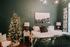 Holiday Guest Room Makeover- BHER Pine Mountain Room - Dark Green Paint - Dark Paint Color - Pine Tree Photography Print - Green Interior Design - Home Depot Collaboration - Black Painted Sleigh Bed - Christmas Decor - Farmhouse Christmas - Christmas Bedroom Decor