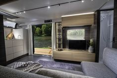 By introducing its swankiest caravan Astella , Slovenian RV maker Adria has ups the camping game to next level. Designed to travel from campsite to campsite or Prefab Homes, Modular Homes, Large Kitchen Design, Luxury Caravans, Caravan Salon, Tiny House Trailer, Loft, Catalog Design, Luxury Accommodation
