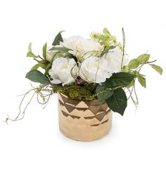 Faux White Rose Flowers Queen Anne's Lace Vine Foliage in Gold Diamond Vase…