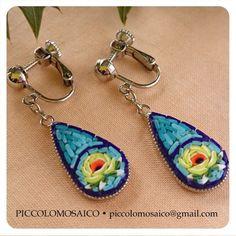 マイクロモザイく黄色の花イヤリング micro mosaic drop earrings
