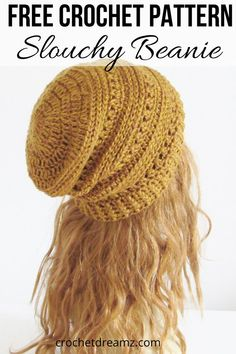 This FREE crochet beanie hat pattern includes sizes Baby, Toddler, Kids , and Woman. You can use this pattern to make a slouchy hat for every girl in your family. The step by step tutorial is detailed enough for advanced beginners. Crochet Slouchy Beanie Pattern, Beanie Pattern Free, Crochet Adult Hat, Bonnet Crochet, Easy Crochet Hat, Crochet Patron, Crochet Diy, Girl Crochet Hat, Crochet Baby Beanie