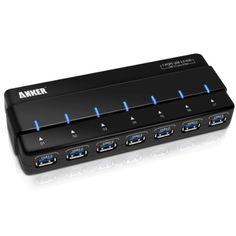 Anker® Uspeed USB 3.0 7 Port Hub mit 12V 3A Netzteil / Stromanschluss und USB 3.0 Kabel [VIA VL812 Chipsatz] Uspeed,http://www.amazon.de/dp/B007TPFXEC/ref=cm_sw_r_pi_dp_d34xtb0AGYB20GFG