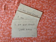 I am not dead postcards