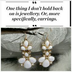 "Gorgeous and Elegant Earrings NWOT *Host Pick* Brand new, no tags  Lovely white dangly earrings feature white beads with rhinestones on a gold metal. Dress up a causal outfit with these beauties or wear them for date night!!  Hook earrings  Hypo allergenic  Approx 2.5"" long Jewelry Earrings"