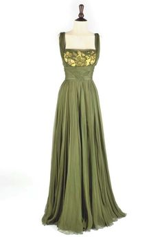 HELEN ROSE, A RARE GREEN SILK CHIFFON GOWN, 1950s  finely draped full length gown, with green and yellow embroidery to the bodice
