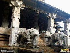 Carved elephants stand guard at the entrance of Bhairadevi Mantapa, Thousand pillared Jain Temple in Moodabidri, also known as Tribhuvana Tilaka Chudamani basadi or Chandranatha basadi, also known as Saavira Kambada Basadi – at #Moodabidri, near #Mangalore, #Karnataka, #India   #Mudubidri #Mudabidri #Basadi #JainTemple #Architecture #incredibleindia #Travels #Temples #templesofindia #DakshinaKannada #SouthCanara #Trayaan #Historical #Monuments #MonumentsOfIndia