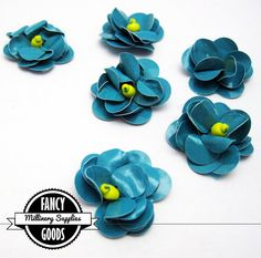 6  Small  Turquoise / Yellow  Flower  Appliques by fancygoods, $2.50