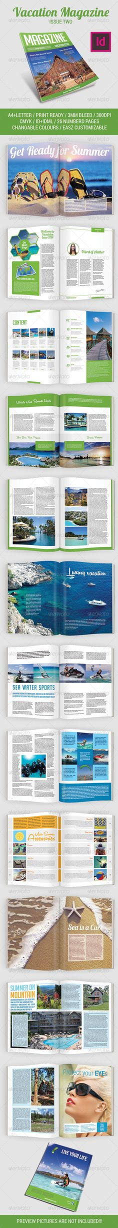Vacation Magazine Template Issue Two - #Magazines Print #Templates Download here: https://graphicriver.net/item/vacation-magazine-template-issue-two/8028321?ref=alena994