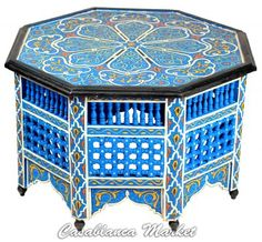 Blue Handpainted Coffee Table - Tables & Nightstands - Casablanca Market