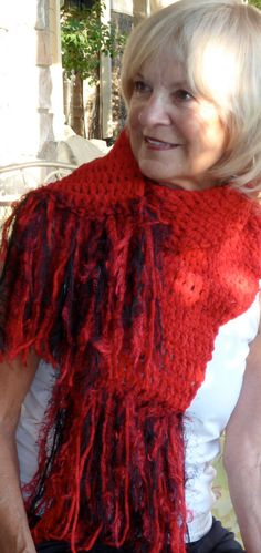 Crochet Red Black Original Scarf by hatsbyanne1942 on Etsy, $48.00