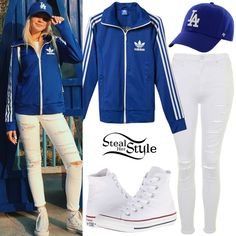 Jordyn Jones posted a picture a few days ago wearing an Adidas Originals Europa Track Jacket (Sold Out), Topshop Petite Ripped Jamie Jeans ($85.00), Los Angeles Dodgers Royal Classic Cap ($29.99) and Converse Chuck Taylor All Star Hi-Sneakers ($55.00).