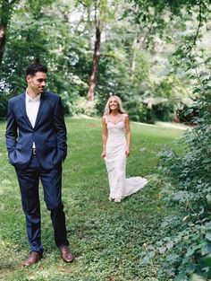 The sweetest first look moment! http://www.stylemepretty.com/2015/11/16/sweet-summer-garden-wedding/ | Photography: Nina and Wes - http://ninaandwes.com/