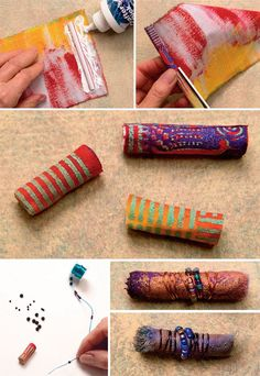 Fabric beads from drinking straws mickiarts beads luke adam paper beads tasselsMake beads using drinking straws, FABRIC (paint own designs on plain fabric scraps) wire, beadsRDL: These may look (sort of) good in photographs but beads from straws are not r Paper Jewelry, Textile Jewelry, Fabric Jewelry, Jewelry Crafts, Jewelry Art, Jewellery, Fabric Beads, Paper Beads, Fabric Scraps