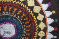 """Traditional Finnish wool embroidery (this is """"peitekirjonta"""" - the white """"weave"""" in the middle is embroidered, woven with needle."""