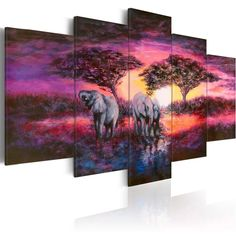 Konda Art 5 Panel Purple Artwork Landscape Painting Wall Art for Office Elephhant Canvas Print Modern Home Decor African Sunset Picture Framed and Ready to hang (Savannah, * You can get additional details at the image link. (This is an affiliate link) Living Room Canvas Prints, Canvas Wall Art, Room Pictures, Print Pictures, Painting Frames, Painting Prints, Art Prints, Images Murales, Tableau Design
