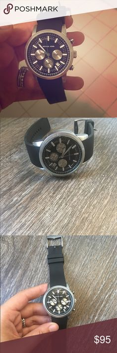 Michael Korea mans watch Rubber band, silver head. Needs new batteries. Husband only wore a few times. Michael Kors Accessories Watches