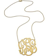 Monogram Necklace | Swirly 3 Initial Monogram Pendant by Jennifer... ($286) ❤ liked on Polyvore
