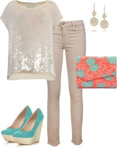 """""""Coral & Mint"""" by away-1862 on Polyvore"""