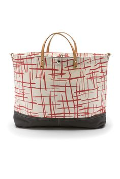 Printed Vessel Tote Bag - Large  Hatch  Waxed Canvas, Canvas Leather, Hatch 6207651e47