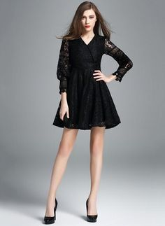 Lace Solid 3/4 Sleeves Above Knee Casual Dresses