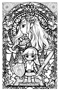 awesome stained glass zelda coloring page gonna try this in watercolors later coloring pages pinterest watercolor glass and adult coloring