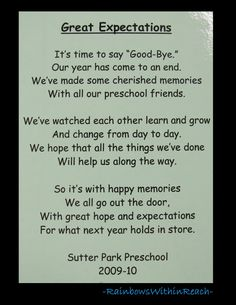 Poem for end of School, Preschool rhyme for goodbye via RainbowsWithinReach