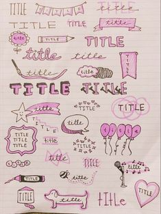 Bullet Journal Doodles: 24 Amazing Doodle Ideas For Beginners & Beyond These bullet journal doodles and doodle tips and ideas are exactly what you need to learn how to doodle. Perfect for beginners and more advanced doodlers! Bullet Journal Writing, Bullet Journal Headers, Bullet Journal Banner, Bullet Journal School, Bullet Journal Aesthetic, Bullet Journal Ideas Pages, Bullet Journal Inspiration, Study Inspiration, Bullet Journals