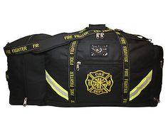 BLACK FIRE FIGHTER DEPT 3XL TURNOUT BUNKER GEAR BAG FIREMAN HELMET POCKET FB10