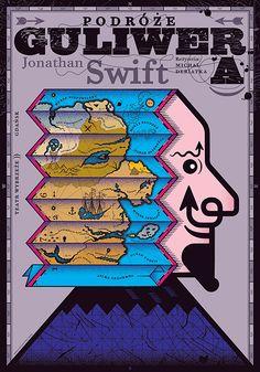 Rostoka Laszló • Guliver Graphic Design Posters, Graphic Design Typography, Illustrations, Graphic Illustration, Pop Art, Polish Posters, Gulliver's Travels, Art Deco Posters, Poster Design Inspiration