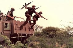 There was only one way of getting off the Buffel mine protection vehicle - the hard way Army Day, Men Are Men, Brothers In Arms, Defence Force, Fight Or Flight, Military Life, Troops, South Africa, War