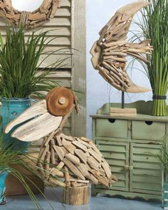 Drift wood sculptures. .driftwood fish  bird sculpture. free standing art. [ branch tree stick sea upcycle ]