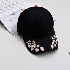 Xuyijun hats for women black pink baseball cap women black flowers white caps embroidery Bone Casquette Sun Visor Hat Hip Hop - Moda - Hat Embroidery, Embroidery On Clothes, Embroidered Clothes, Floral Embroidery, Sun Visor Hat, Visor Hats, Bone Bordado, Pink Baseball Cap, Japan Baseball
