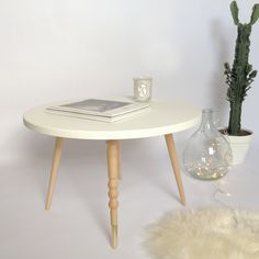 Table basse My Lovely Ballerine - 37 cm - ronde - Hêtre ou Noyer