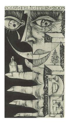 Ex Libris 'Pour Feliciter, 2003' by Sergey Hrapov. 6.8 x 12.1. See more here: http://www.hrapov.com/gallery/exlibris/2002/p-f-2003