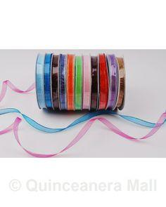 "Quinceanera Mall - 3/8"" Organza Shimmery Ribbon -#RIB26"