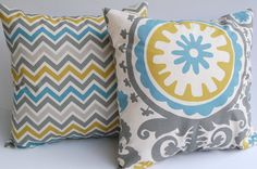 "Throw pillow covers zoom zoom chevron stripe and Suzani Summerland set of two 20"" x 20"". $34.00, via Etsy."