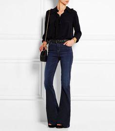 J Brand Maria High-Rise Flared Jeans Denim Fashion, Fashion Tips, Fashion Trends, Fashion 2016, Fashion Inspiration, Fashion Design, Style Blazer, Flare Jeans Outfit, Estilo Jeans