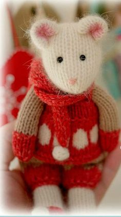 Knitting Pattern for Winter Tearoom Mouse - Patterns for girl and boy mouse in Scandiavian inspired winter clothes. Height: 21cm/ 8.3″
