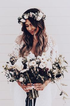 10 Spring Wedding Dresses That Will Have Your Groom Over The Moon On Your Special Day. Here are our favorite wedding dresses! Flower Crown Veil, Flower Crown Hairstyle, Flower Crown Wedding, Crown Hairstyles, Wedding Hairstyles, Flower Crowns, Flower Hairstyles, Bohemian Hairstyles, Lace Bride