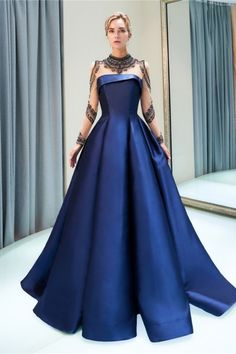 Prom dresses luxury dark navy satin a line long sleeve lace illusion high collar quinceanera dress Blue Ball Gowns, Ball Gowns Evening, Long Sleeve Evening Dresses, Prom Dresses Long With Sleeves, Evening Party, Dress Long, Prom Party Dresses, Occasion Dresses, Dress Party