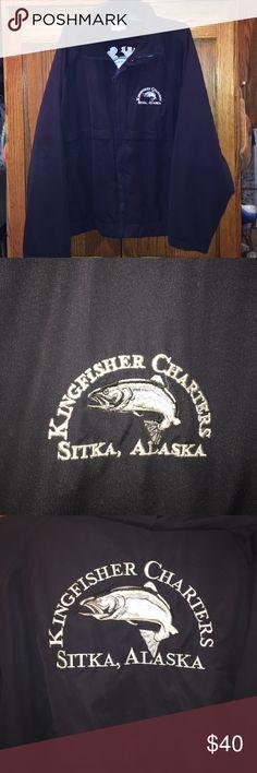 Sitka Alaska windbreaker Sitka,Alaska KingFisher Charters windbreaker/raincoat Navy blue Hoddy xl men's or women's bought it on vacation in Alaska very nice great in the rain & cold Jackets & Coats Raincoats