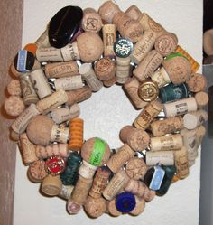 cork wreath for front door!! Add a flower or a cool piece of fabric!!
