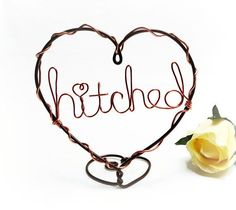Hitched Heart Wire Wedding Cake Topper