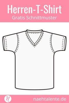 Kostenloses Schnittmuster für ein Herren-T-Shirt mit V-Ausschnitt in Gr. 44 - 46. PDF-Schnitt zum Ausdrucken. Freebook ✂️ Nähtalente - Das Magazin für Hobbyschneider/innen ✂️ Free sewing pattern for men's basic shirt with v-neck in size 44 - 56. PDF sewing pattern for print at home. Freebie ✂️ Nähtalente - Magazin for sewing and free sewing pattern ✂️ #nähen #freebook #schnittmuster #gratis #nähenmachtglücklich #freesewingpattern #handmade #diy via @Naehtalente